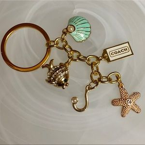 COACH GOLD PLATED SEA LIFE 🐠 THEMED KEYCHAIN NWOT